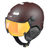 Snowboard helm met Vizier CP Carachillo_brown-white_flash-Gold-mirror