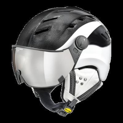 CP Helme mit Visier Schwarz Weiss - CP Camurai Carbon - mit photochrom & polarisiert visier