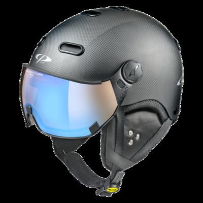 CP Helme mit Visier Schwarz - Carachillo Carbon - Photochrom/Polarisiert/Verspiegelt ☁/❄/☀