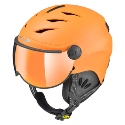 Kinder Skihelm mit Visier Orange - Cp Camulino -  Mirror - ☁/❄/☀