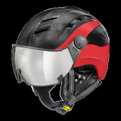 CP Helme mit Visier Schwarz-Rot - CP Camurai Carbon - mit photochrom & polarisiert visier