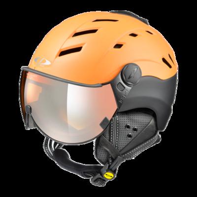 Skihelm mit Visier Orange Schwarz - CP Camurai - Verspiegelt (☁/☀/❄)