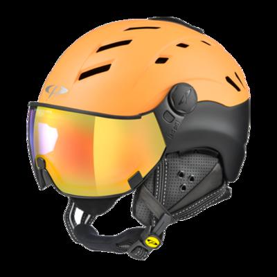 Skihelm mit Visier Orange Schwarz - CP Camurai - Photochrom Verspiegelt (☁/☀/❄)