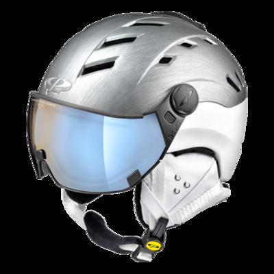 CP Helme mit Visier Grau Weiss - CP Camurai Metallic Cubic - mit Photochrom Polarisiert Verspiegelt Visier