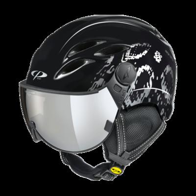 CP Helm mit Visier Damen Schwarz- Curako - Verspiegelt  Visier ☁/❄/☀