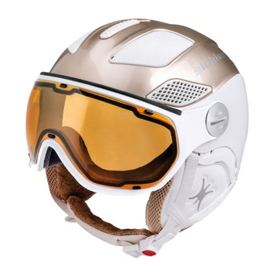 Skihelm Slokker Raider Free lady - gold weiss - Photochrom Polarisiert Visier (☁/☀/❄)