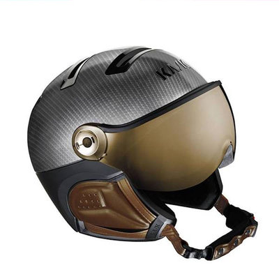 Kask Elite Photochrom Carbon Braun - Skihelm mit Visier - Photochrom Visier (☀/☁) Cat.2