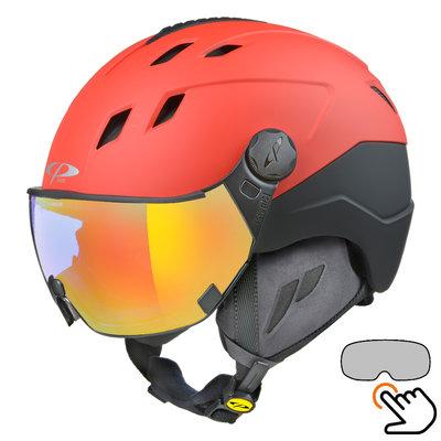 CP Corao+ Skihelm rot - single spiegel visier (2 Optionen) - sehr sicher