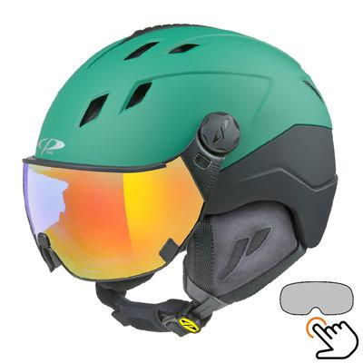 CP Corao+ Skihelm grün - single spiegel visier (2 Optionen) - sehr sicher