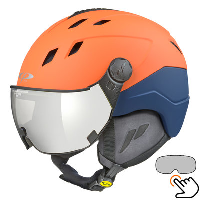 CP Corao+ Skihelm orange - single spiegel visier (2 Optionen) - sehr sicher