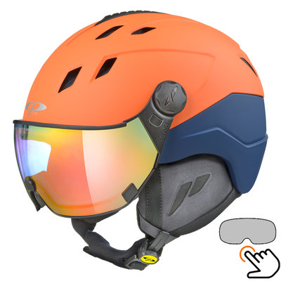 CP Corao+ Skihelm orange - photochrom Visier (4 Optionen) - sehr sicher
