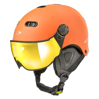 CP Carachillo XS skihelm orange matt - helm mit spiegel visier (☁/☀)