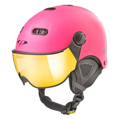 CP Carachillo XS skihelm fluo rosa matt - helm mit spiegel visier (☁/☀)