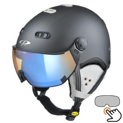 CP Carachillo Carbon schwarz-weiss matt skihelm - photochrom & polarisiert Visier (3 Optionen)
