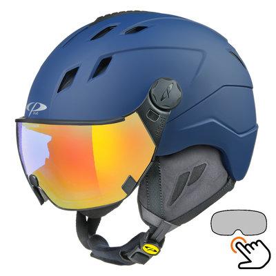 CP Corao+ Skihelm blau - single spiegel visier (2 Optionen) - sehr sicher