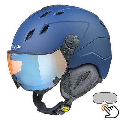 CP Corao+ Skihelm blau - photochrom & polarisiert Visier (3 Optionen) - sehr sicher