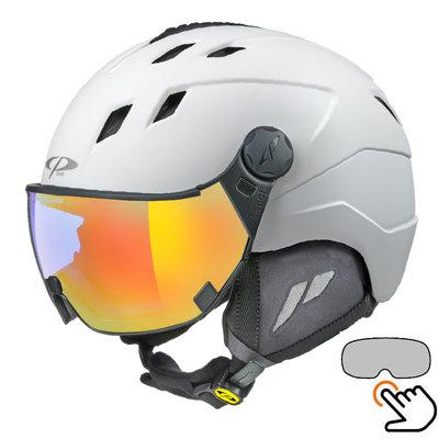 CP Corao Skihelm weiß - single spiegel visier (2 Optionen) - sehr sicher