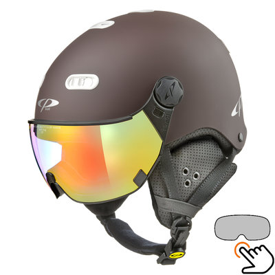 CP Carachillo braun skihelm - photochrom Visier (4 Optionen)
