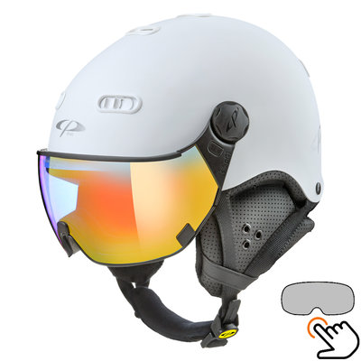 CP Carachillo Skihelm weiss - single spiegel visier (2 Optionen)