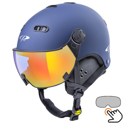 CP Carachillo Skihelm blau - single spiegel visier (2 Optionen)