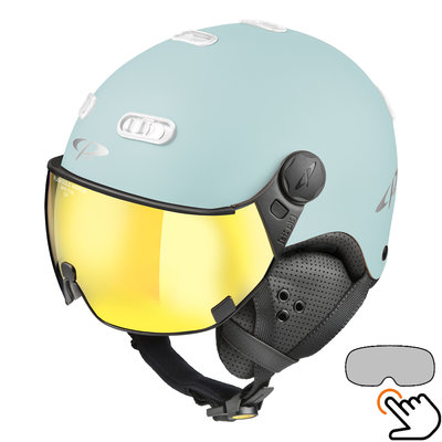 CP Carachillo Skihelm lichtblau matt - single spiegel visier (2 Optionen)