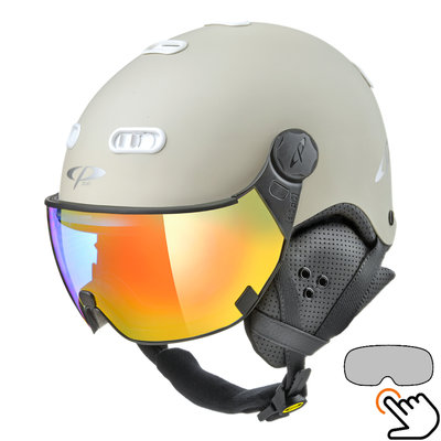 CP Carachillo Skihelm weiss creme - single spiegel visier (2 Optionen)