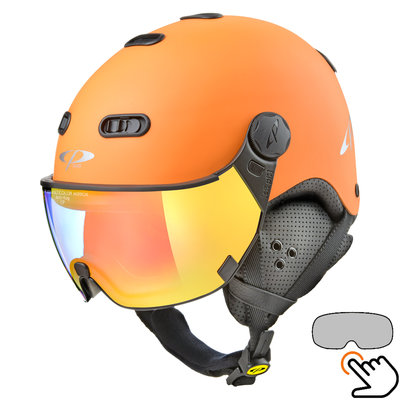 CP Carachillo Skihelm orange - single spiegel visier (2 Optionen)