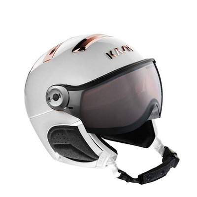Kask Chrome white-pink gold Skihelm mit Visier - Photochromatisch Visier (☁/❄/☀) Cat.1-2