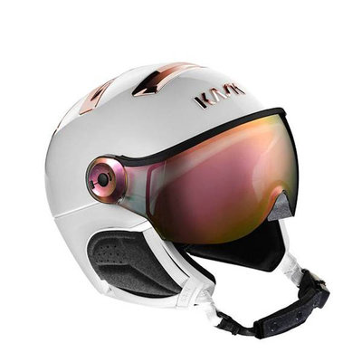 Kask Chrome Skihelm mit Visier white-pink-gold |Pink Mirror Visier (☁/☀) Cat.2