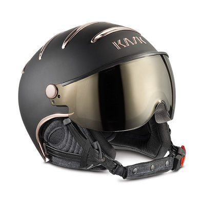 KASK CHROME SKIHELME - BLACK PINK GOLD - GOLD MIRROR VISIER CAT. 2 ☀/☁