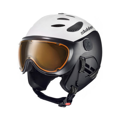 SLOKKER BALO SKIHELM - WHITE - PHOTOCHROMIC POLARIZED VISIER CAT.1-2 - (☁/☀/❄)