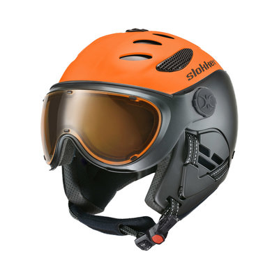 SLOKKER BALO SKIHELM - ORANGE - PHOTOCHROMIC POLARIZED VISIER CAT.1-2 - (☀/☁)