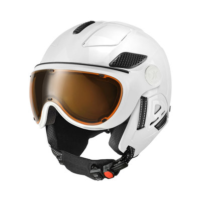 SLOKKER RAIDER PRO SKIHELM - WHITE - MEEKLEUREND POLARIZED VISIER CAT.1-2 - (☀/☁)