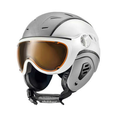 SLOKKER BAKKA SKIHELM - SILVER WHITE - PHOTOCHROMIC POLARIZED VISIER - Cat.1-2 (☀/☁/❄)