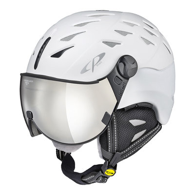 CP CUMA SKIHELM - PEARL WHITE - CLEAR SILVER MIRROR VISIER CAT.2 - (☁/☀/❄)
