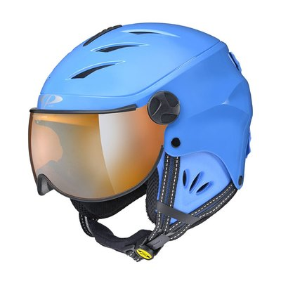 CP CAMULINO SKIHELM KINDER - BLUE SHINY BLUE - ORANGE VISIER CAT.1 (☁/❄)