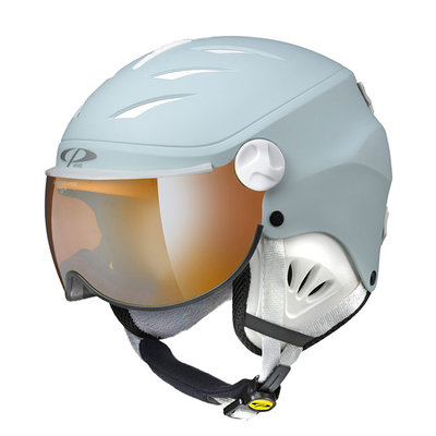 CP CAMULINO SKIHELM KINDER - LIGHT BLUE - ORANGE SILVER MIRROR VISIER CAT. 2 - (☁/☀/❄)