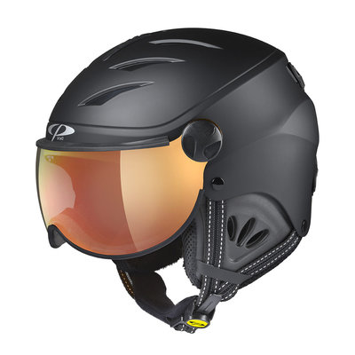 CP CAMULINO SKIHELM KINDER - BLACK - FLASH GOLD MIRROR VISIER CAT.3 - (☀)