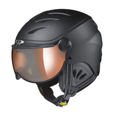 CP CAMULINO SKIHELM KINDER - BLACK - ORANGE SILVER MIRROR VISIER CAT. 2 - (☁/☀/❄)
