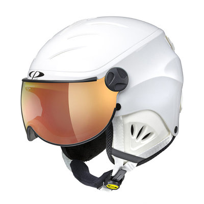 CP CAMULINO SKIHELM KINDER - WHITE SHINY - ORANGE SILVER MIRROR VISIER Cat.3 - (☀)