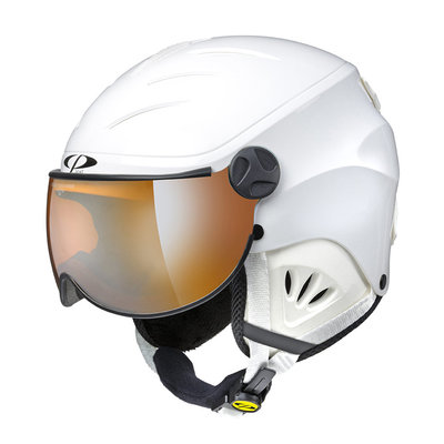 CP CAMULINO SKIHELM KINDER - WHITE SHINY - ORANGE VISIER CAT.1 (☁/❄)