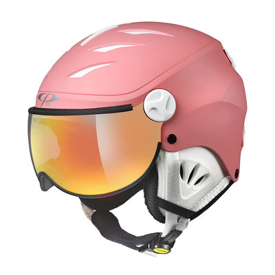CP CAMULINO SKIHELM KINDER - PINK LEMONADE WHITE - FLASH GOLD MIRROR VISIER CAT.3 - (☀)