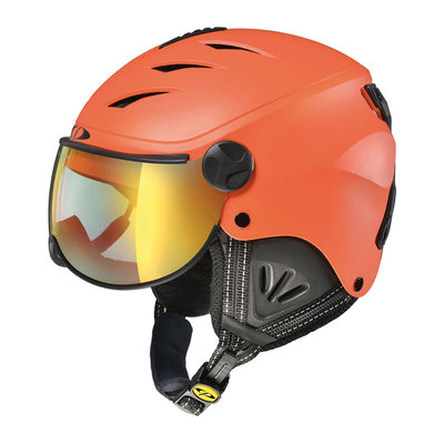 CP CAMULINO SKIHELM KINDER - CARROT BLACK - FLASH GOLD MIRROR VISIER Cat.3 - (☀)