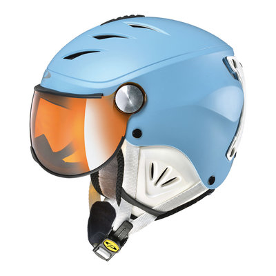 CP CAMULINO SKIHELM KINDER - DUSK BLUE WHITE - FLASH GOLD MIRROR VISIER Cat.3 - (☀)