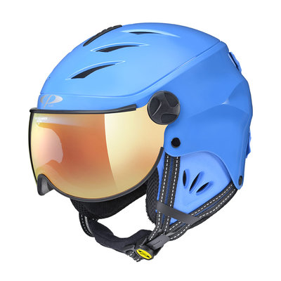 CP CAMULINO SKIHELM KINDER - BLUE SHINY BLUE - FLASH GOLD MIRROR VISIER Cat.3 - (☀)