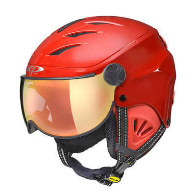 CP CAMULINO SKIHELM KINDER - RED SHINY RED - FLASH GOLD MIRROR VISIER Cat.3 - (☀)