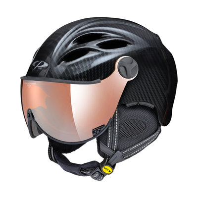 CP CURAKO SKIHELM - CARBON LOOK - ORANGE SILVER MIRROR VISIER CAT.2 - (☁/☀/❄)