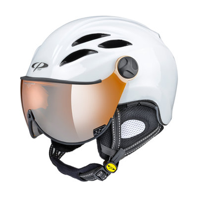 CP CURAKO SKIHELM - WHITE SHINY - ORANGE SILVER MIRROR VISIER CAT.2 - (☁/☀/❄)