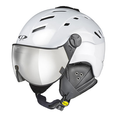 CP CAMURAI SKIHELM - PEARL WHITE SHINY - CLEAR SILVER MIRROR VISIER CAT. 2 - (☁/☀/❄)