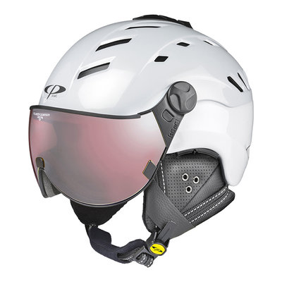CP CAMURAI SKIHELM - PEARL WHITE SHINY - POLARIZED CLEAR VISION VISIER CAT.2 - (☁/☀/❄)
